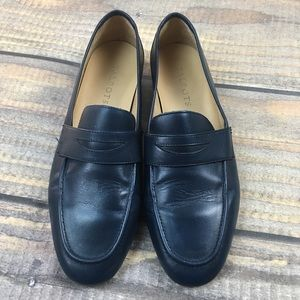 TALBOTS NAVY 100% LEATHER PENNY LOAFERS 7.5